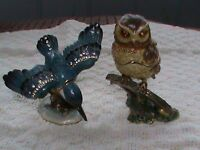Ornamental, metal owl and kingfisher with 'keepsake' compartment