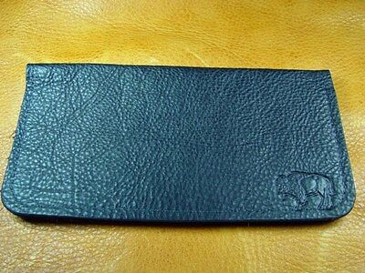 Black Bison Buffalo Leather Card Case Wallet hand crafted disabled vet 5012