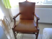 Fantastic, Sturdy, Gainsborough Style, Leather Chair - £300