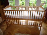 Pine & White Cot with Mattress