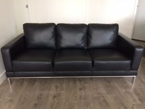 Structube 3 Seat Black Faux Leather Couch