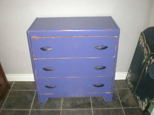Three Drawer Wooden Dresser With Distressed Finish