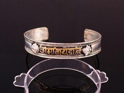 Big Tibetan Carved Brass Mantra OM Mani Padme Hum Dorje Amulet Cuff Bracelet