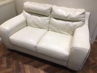 Violino 2 seater sofa couch Cream white leather not sofology DFS