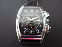 NEW MEN AUTOMATIC MULTIFUNCTION WATCH WITH BLACK LEATHER STRAP