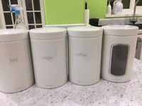 Brabantia Kitchen Bin & Set of Matching Kitchen Canisters - Off White