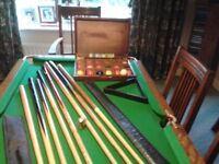 Antique Snooker/Dining set, 5ft 4; long, 2ft 10; wide with rise and fall mechanism to eat or play