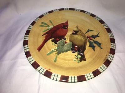 "Lenox Winter Greetings Everyday 8"" Salad Plates Set of 4 Cardinal New"