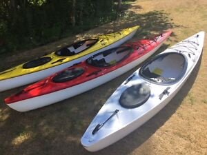 Riot Tour Lite 12 ft kayaks instock skeg equipped red, yell, wht