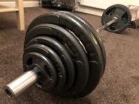 130kg Bodymax Olympic Cast Iron Tri-Grip Weight Plates and 6ft Barbell Set. Bodybuilding, Strength