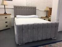 BRAND NEW grey fabric 4'6 double bed frame with jewels, £375.
