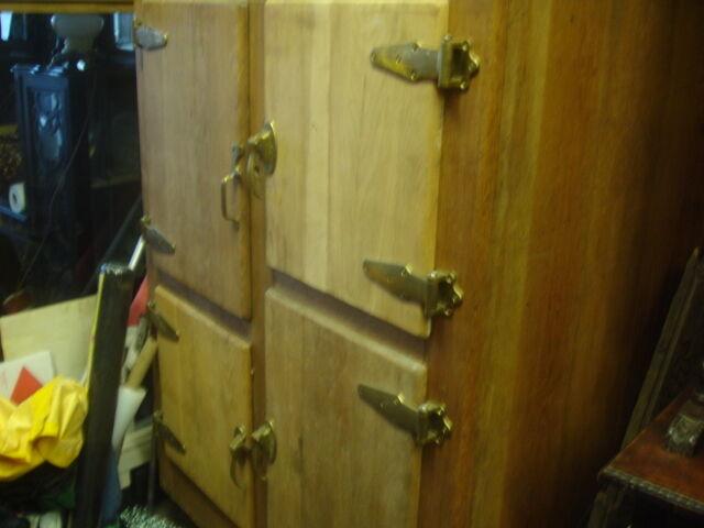 Antique Large Post Victorian American Mans Cave Oak Ice Box
