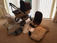 BUGABOO CAMELEON TRAVEL SYSTEM including a Pram, Pushchair, Carricot in sand & brown + accessories