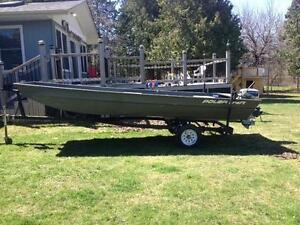 2013 16 ft Polar Kraft john boat motor and trailer