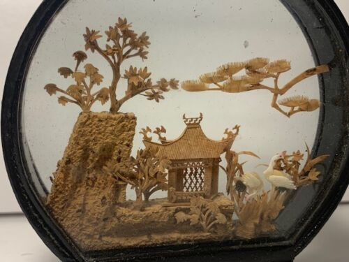Vintage San You Cork Diorama Carving with Cranes and Pagoda