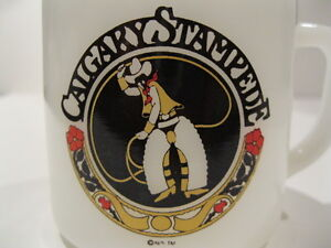 1975 CALGARY STAMPEDE MILK GLASS MUG