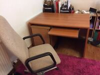 Office size desk with separate filing drawers plus adjustable chair