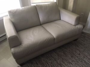 Beige Leather couch & chair