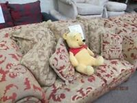 ***BARGAIN+FREE DELIVERY IN DUNDEE AREAONLYLARGE 3 +2 SEATER BROWN DESIGN FABRIC SOFA+GOOD CONDITION