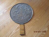 Japanese antique solid bronze GEISHA mirror