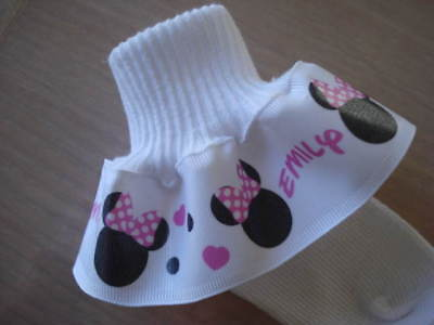Pink And White Minnie Mouse (Ruffle Socks PERSONALIZED MTM Minnie Mouse Pink and White Girls Toddlers)