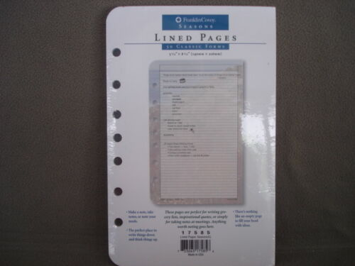 Organizer Refill Franklin Covey Seasons Lined Pages NEW  Item number 17585