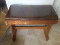 Antique wood piano stool with storage