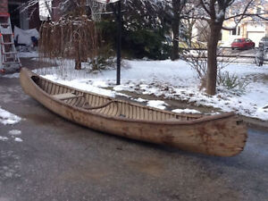 1930's Peterborough Canvas Cedar Strip Canoe 16