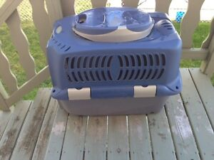 Plastic Dog Crate, pillow, dishes etc