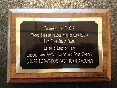 Recognition Award Plaque 5x7 Trophy With 2 Tone Brass Engraved Plate