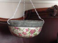 Aged Ceramic Hanging Basket Pink & White Rose Design Garden Flower Planter