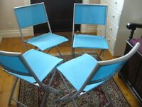 4 quality blue waterproof fabric metal folding garden patio chairs - southbourne