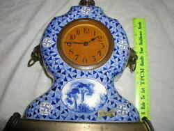Antique 13.5 Tall Blue and White Colonial Clock Marked '495'