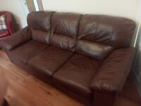 3 seater brown leather sofa suite couch for sale