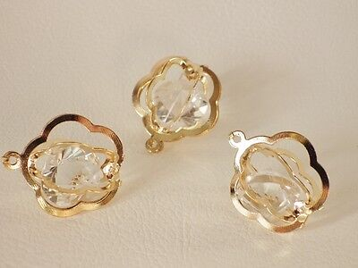 3 x PALE ROSE GOLD Plated Wire Pendants / CAGES:  BNRGWPend03 - FLOWER