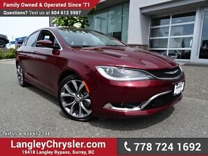 2016 Chrysler 200 C W/ LEATHER UPHOLSTERY, PANORAMIC SUNROOF...