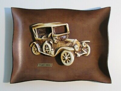 Fiat 1900 Vintage Special Painting With Car IN Ceramic On Frame Leather