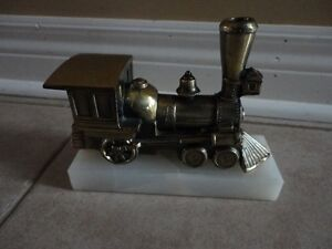 Solid brass marble base train decorative statue accent London Ontario image 2