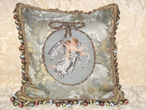 GORGEOUS ANTIQUE BEADED NEEDLEPOINT TAPESTRY ANGEL & CHILD/PUTTI CAMEO PILLOW