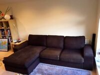Ikea sofa/couch Kivik 3 seat sofa with chaise in dark brown