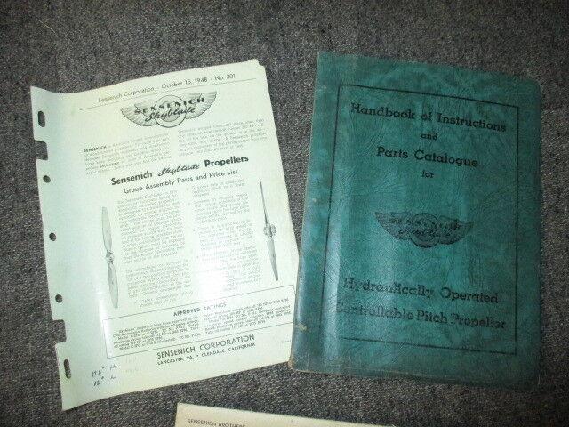 SENSENICH BROTHERS SKYBLADE PROPELLER FACTORY OR DEALER SERVICE BOOKLET 1948