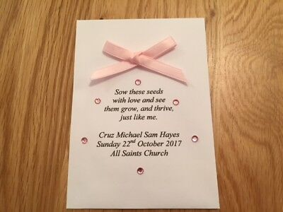 10 Personalised Christening/Baby Shower Favours/Gift containing Flower Seeds