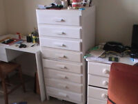 white painted office type cabinet with 8 drawers (ideal for stationary and similar)