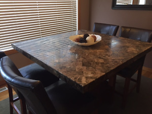 Counter Height Dining Table & 6 Chairs