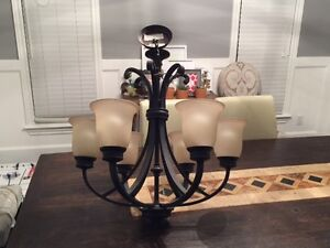 5 Light Bronze (Black) Chandelier with Opal Glass Shades