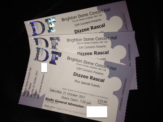 DIZZEE RASCAL~BRIGHTON DOME~STANDING TICKETS ~100% TRUSTED SELLER