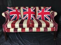 Elegant French Regency Chesterfield Style Chenille Fabric Stripped 2 Seater Sofa