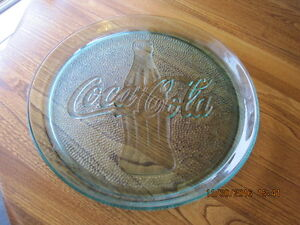 COCA COLA COKE Glass Tray Blue Green Heavy Large & Beautiful