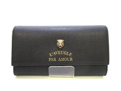 Auth GUCCI 453164 A7M0T 1000 Black Leather Long Wallet
