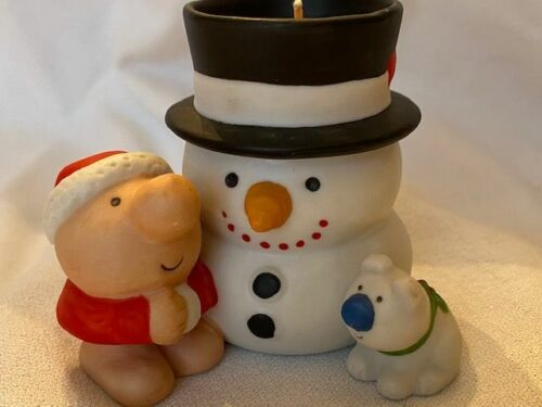 ZIGGY AS SANTA & FUZZ WITH SNOWMAN CANDLE ~1980~NEW
